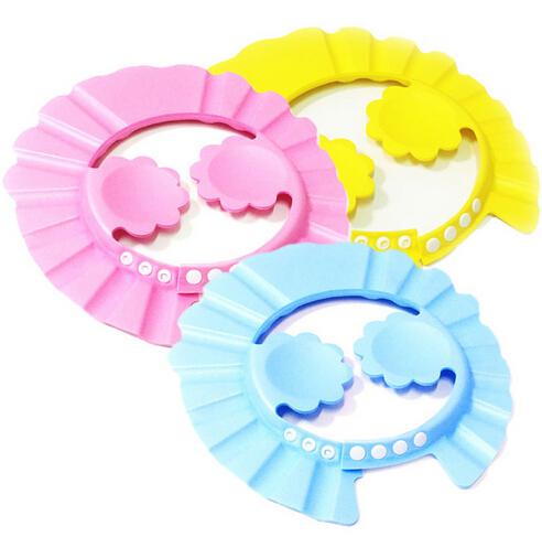 Prevent Water Into Ear 1Pcs Soft Baby Kids Children Shampoo Bath Shower Caps Adjustable Baby Shower Hat Baby Shampoo Cap(China (Mainland))