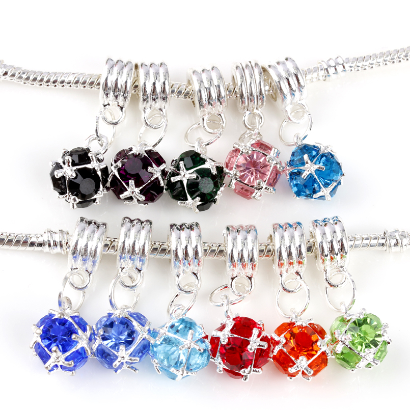 free shipping silver 1pc 11 color choose crystal european hanging dangle bead charms fit pandora style bracelet B005(China (Mainland))