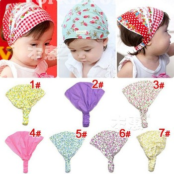 2013 Free shipping Simple fashion Wholesale Korean Printing  Beautiful Cotton Hair Bands Kerchief For Baby Girl As A Gift