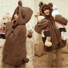 Милый кролик уши задняя часть корейский женское студенты шляпы плюш медведь плюш пальто толще одежда пальто