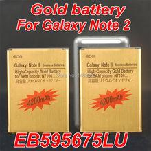 2 шт. золото батарея 4300 мАч аккумуляторная батарея с USB зарядное устройство для Samsung Galaxy примечание 2 II N7100 EB595675LU давний