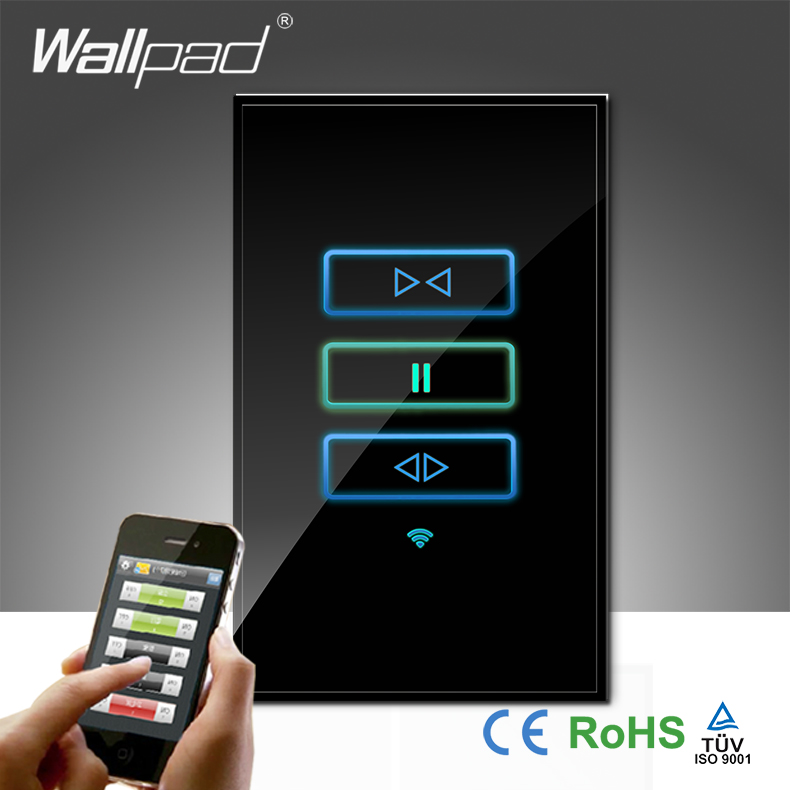High-End Wallpad Black Glass AU US 120 110~250V 3 Gang Wireless Wifi Remote Curtain Control WIFI Blind Wall Switch,Free Shipping<br><br>Aliexpress