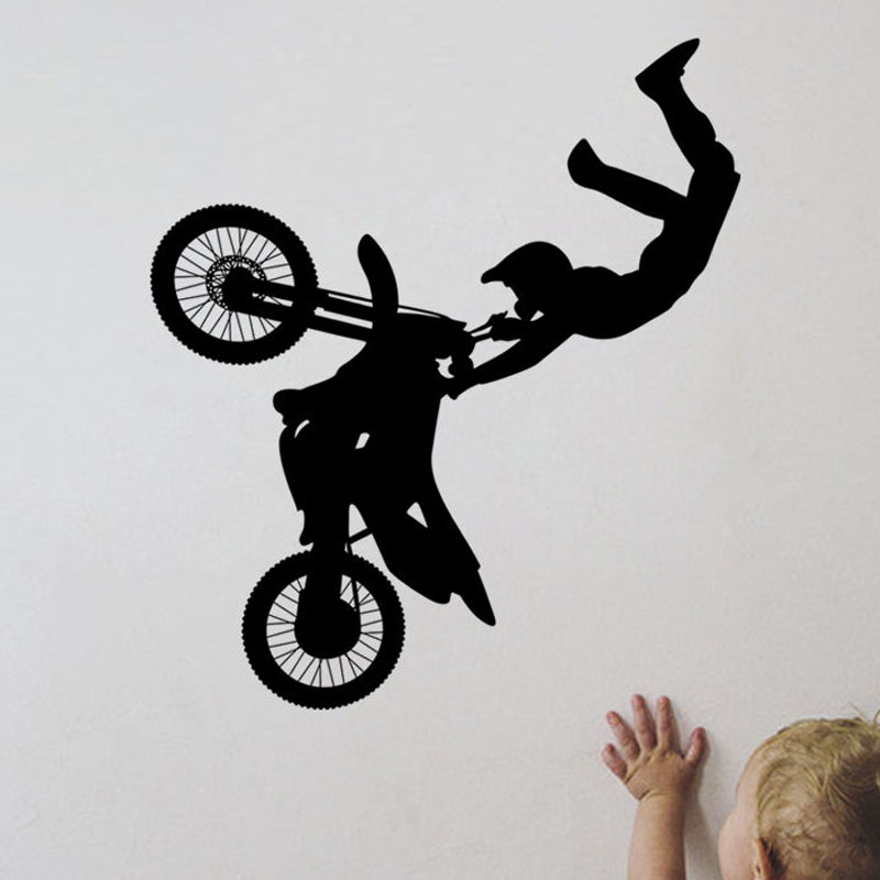 Hot Sale Black Printed Motocross Wall Stickers Kids Bedroom Wall Decorative Decal Vinyl Self Adhesive