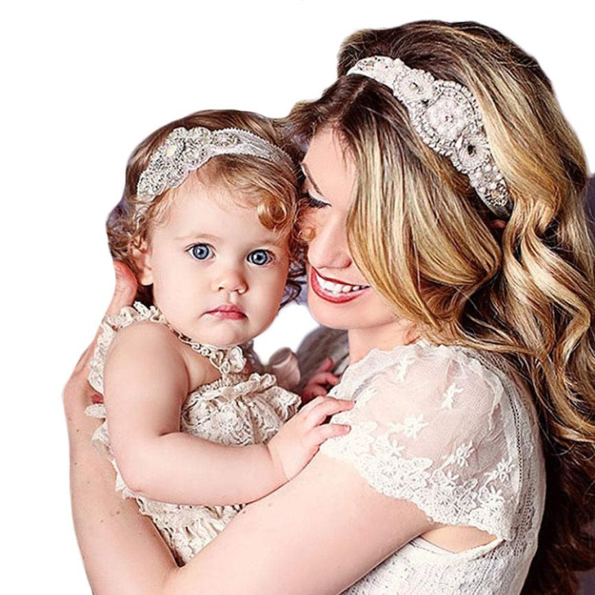 SIF1 Sets 2 pieces Stunning Rhinestone Headband Elastic Baby Girl Rhinestone parent-child Headband for Mother and daughter(China (Mainland))