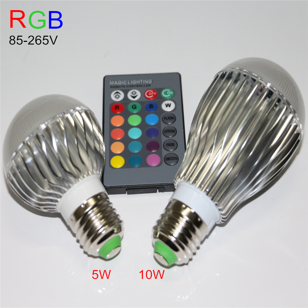 1Pcs E27 RGB 5W 10W Led Spotlight AC85-265V Led rgb bulb light Halogen lamp multiple color Home lighting with ir remote(China (Mainland))