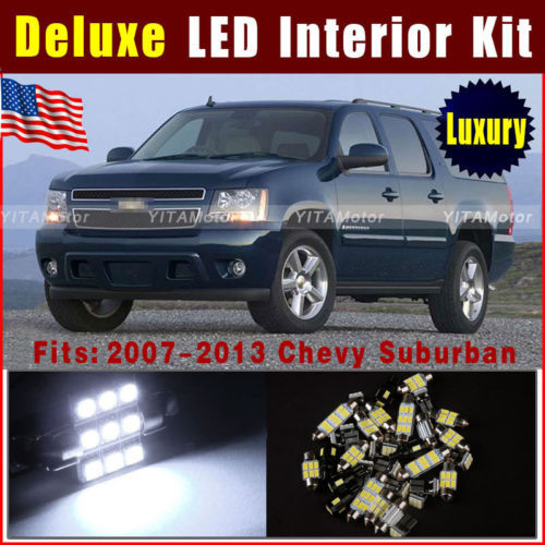 Wholesale Price led Car 10pcs Deluxe White SMD LED Light Interior Package Kit For 2007-2013 Chevy Suburban Dome Door Step Trunk~(China (Mainland))