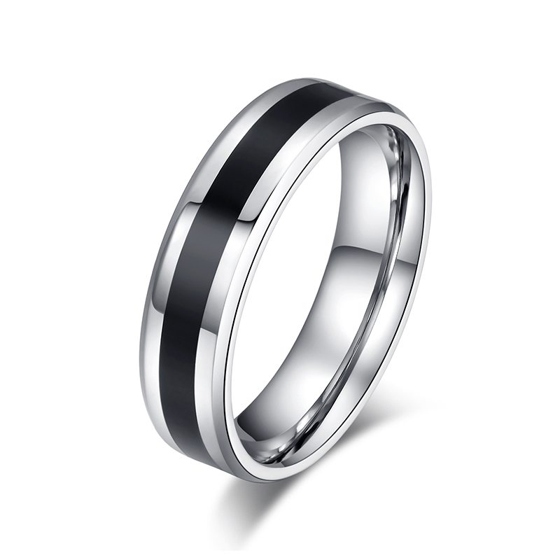 Men 6mm Stainless Steel Round Wedding Ring Black and White Stripe Club Party Rings for Women US Size 7-13(China (Mainland))