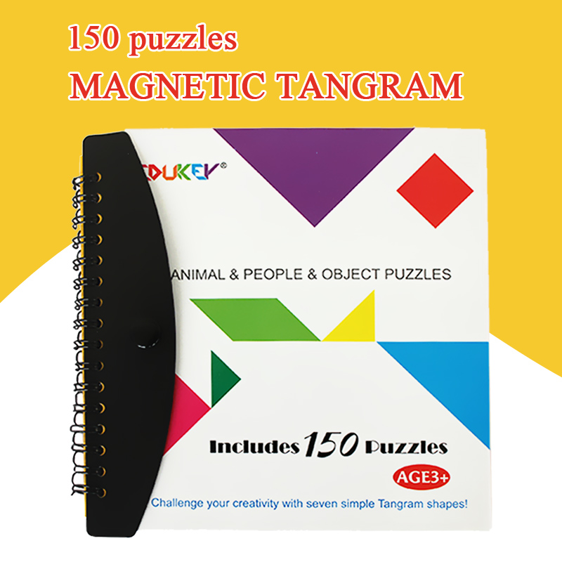 72/150 puzzles magnetic Tangram kids toys challenge your IQ a Montessori educational magic book suit for 3-100 years old(China (Mainland))