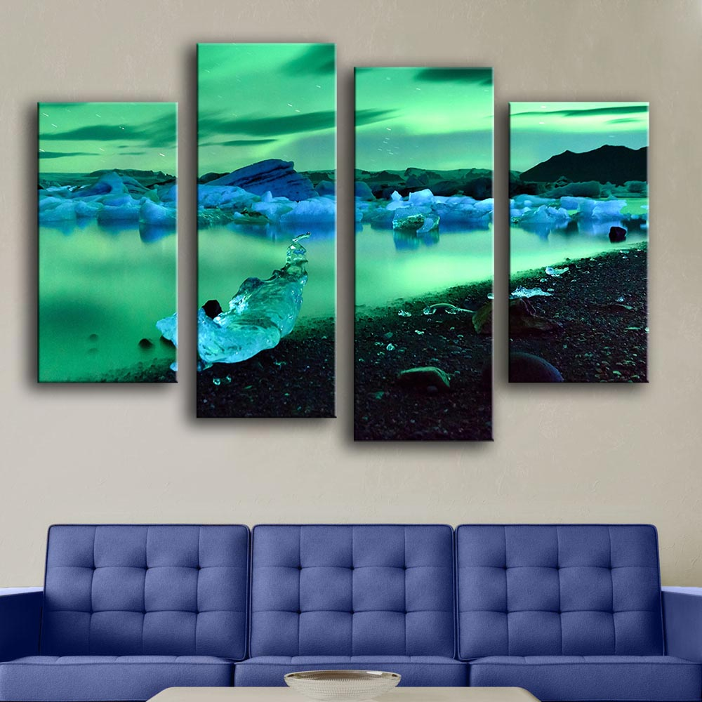 2016 new product Print Oil Painting Wall painting 4PC/SET iceland northern lights Wall Art ...