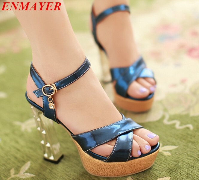 ENMAYERSolid Plain Casual women  pumps Ankle Strap Square heel High Platform pumps shoes women fashion sexy new 2015<br><br>Aliexpress
