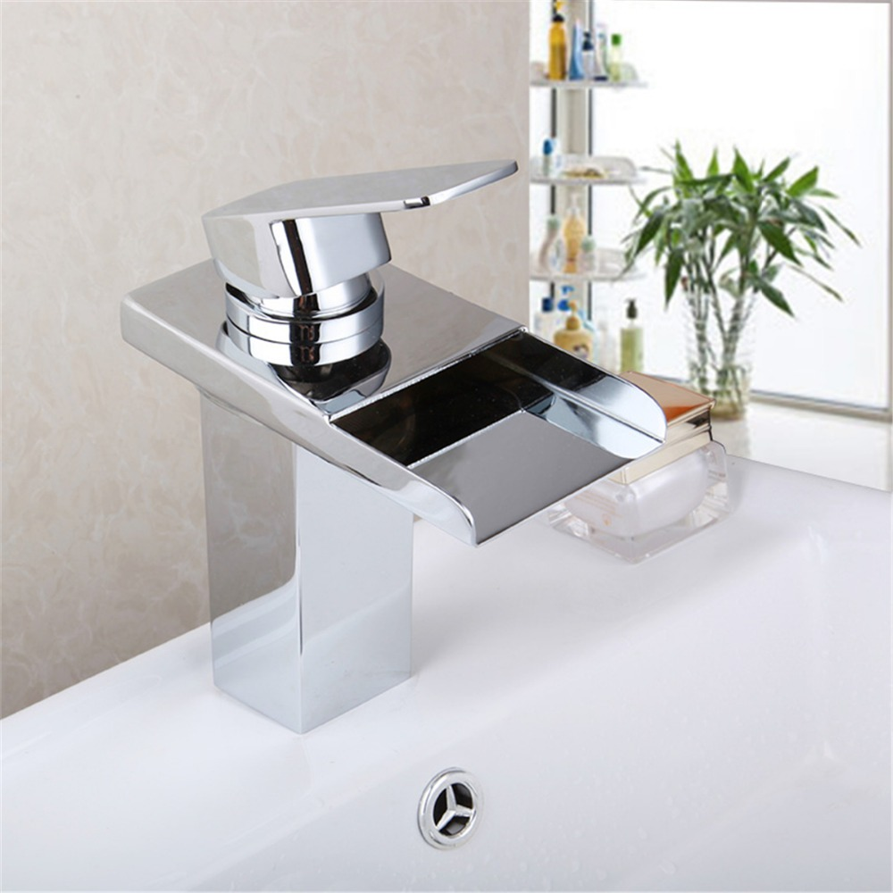 led light faucet shower water tap bathrooom faucet polished chrome water faucet glow shower basin sink