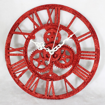 QIYUE Retro Modern European wall clock fashion creative clock wall gear red sandstone gold antique wall clock free shipping(China (Mainland))