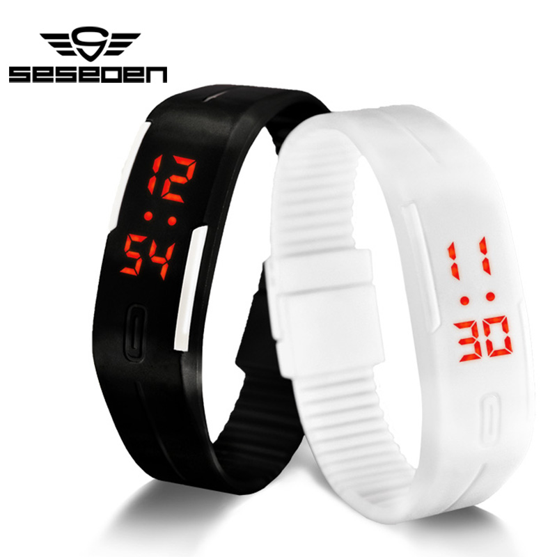 SESEDEN New Fashion LED Bracelet Digital Watches For Men&Ladies&Child Clock Womens Rubber Sports Wristwatch Saat(China (Mainland))