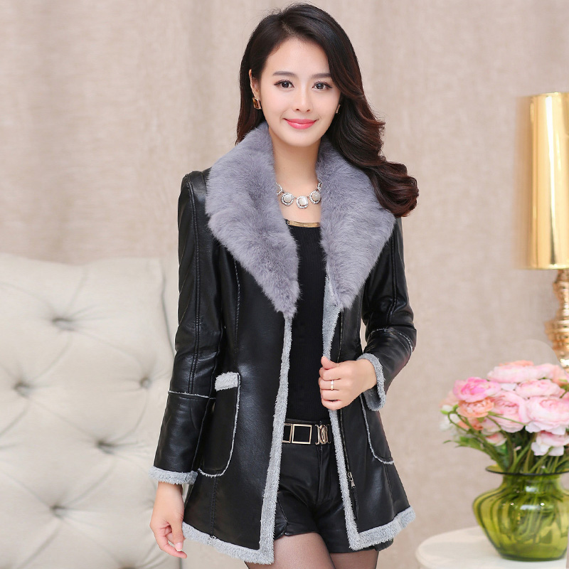 2015 winter rex rabbit hair fur one piece leather clothing female medium-long thickening plus velvet leather clothing outerwearОдежда и ак�е��уары<br><br><br>Aliexpress