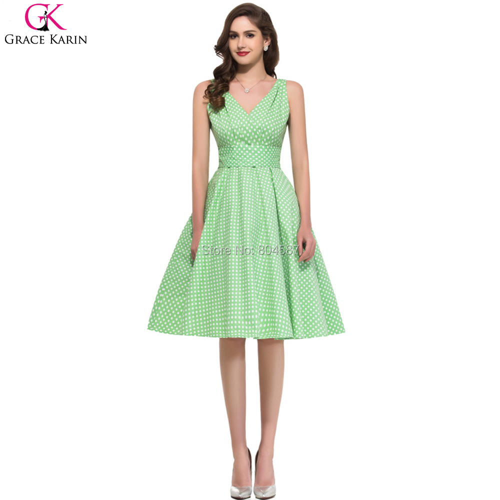 Fashion Grace Karin Cotton VNeck 50s Vintage Rockabilly Swing Polka Dot Print Casual Dresses Short Wedding Party Dress Prom 6295(China (Mainland))