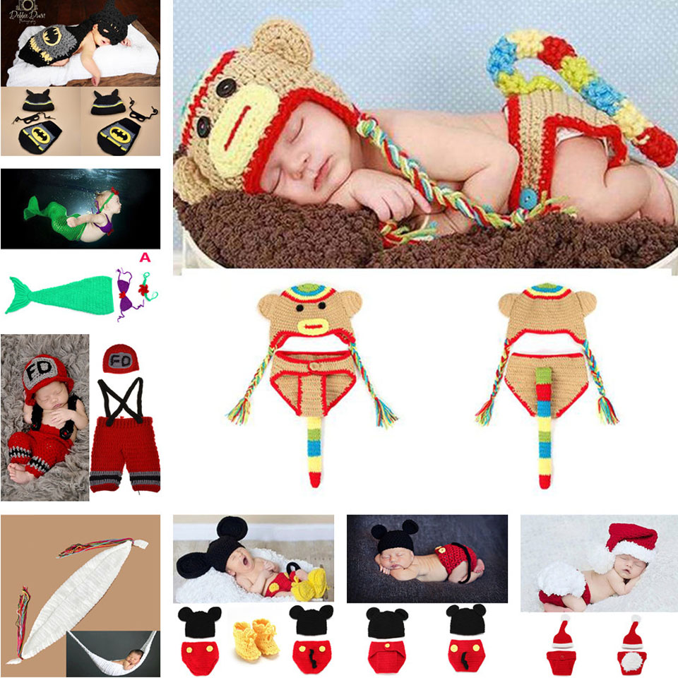 Lovely Animal Designs Crochet Baby Hat Beanie Photo Photography Props Knitted Newborn Costume Batman Monkey 1set/lot MZS-14043(China (Mainland))