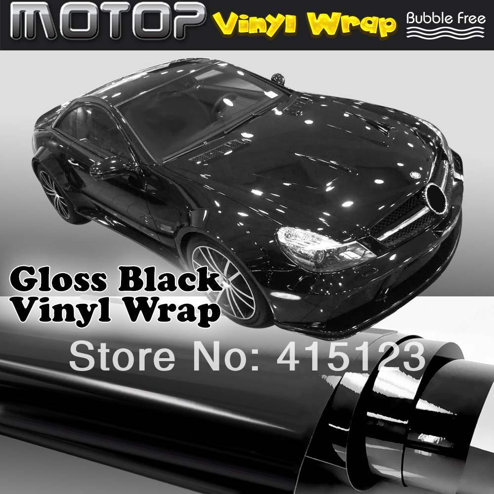 400mmX1520mm Gloss Glossy Black Matellic Vinyl with Bubble Free Air Release DIY Wrap Sheet Film Car Sticker Decal Car Styling(China (Mainland))