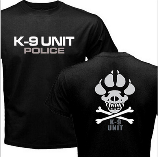 K-9 Special Unit Police Dog Foot Canine Men's Graphic Casual Shirts New Summer Top Short Sleeve 100% Cotton Print Tee Shirt(China (Mainland))