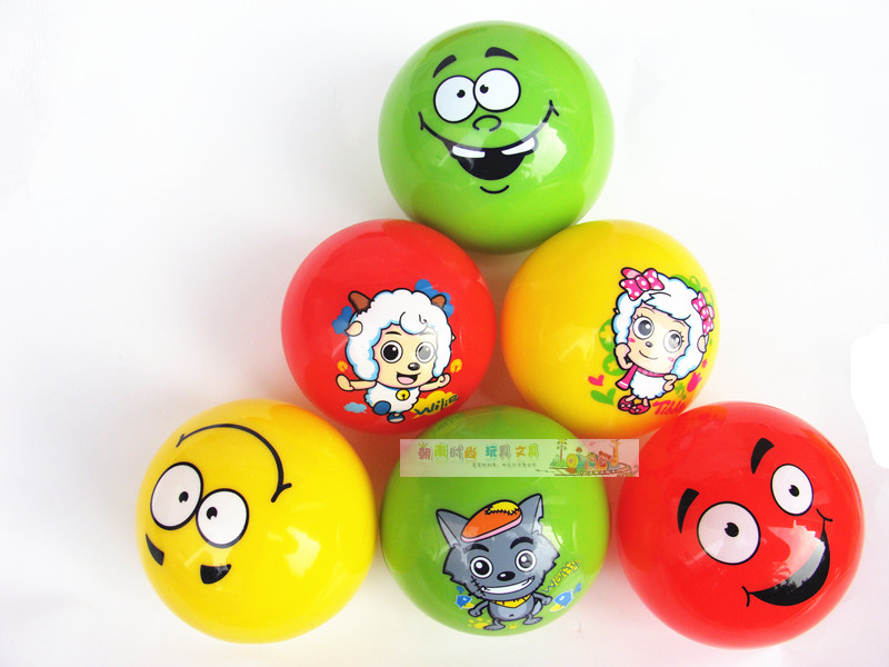 Toy rubber ball inflatable ball 3 inchsmiley set ball and carton goat ball 6pcs/lot free shipping(China (Mainland))