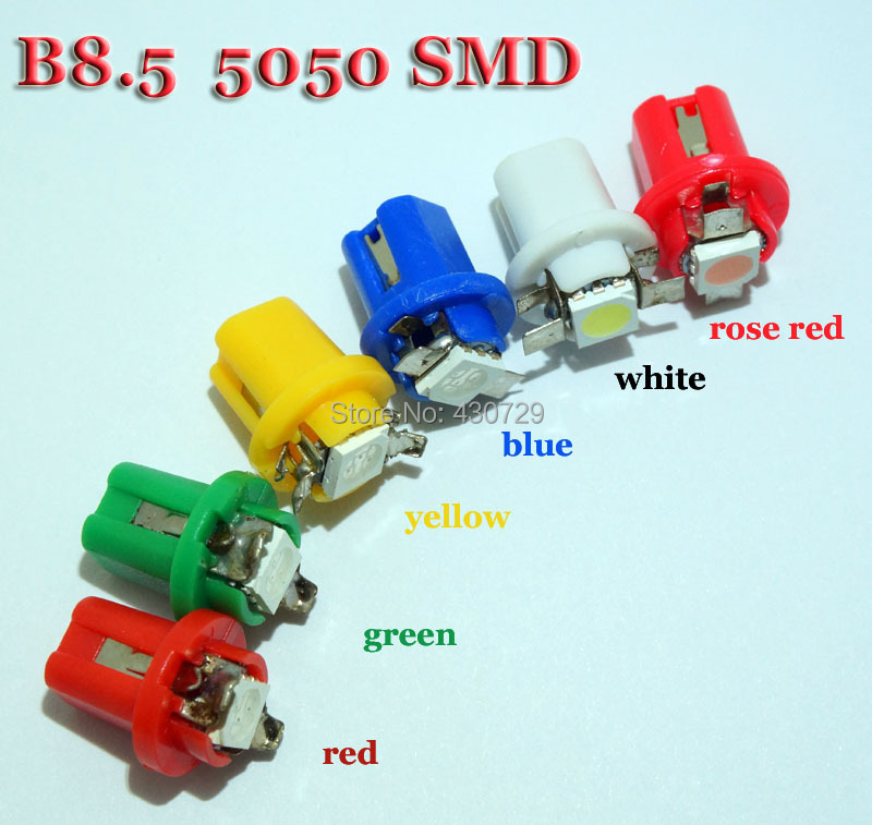 5 b8.5 5050 Led 1 SMD T5 LED Lamp Car Dashboard instrument Light Bulb 12v blue red green white yellow Rose - CarLedLight store