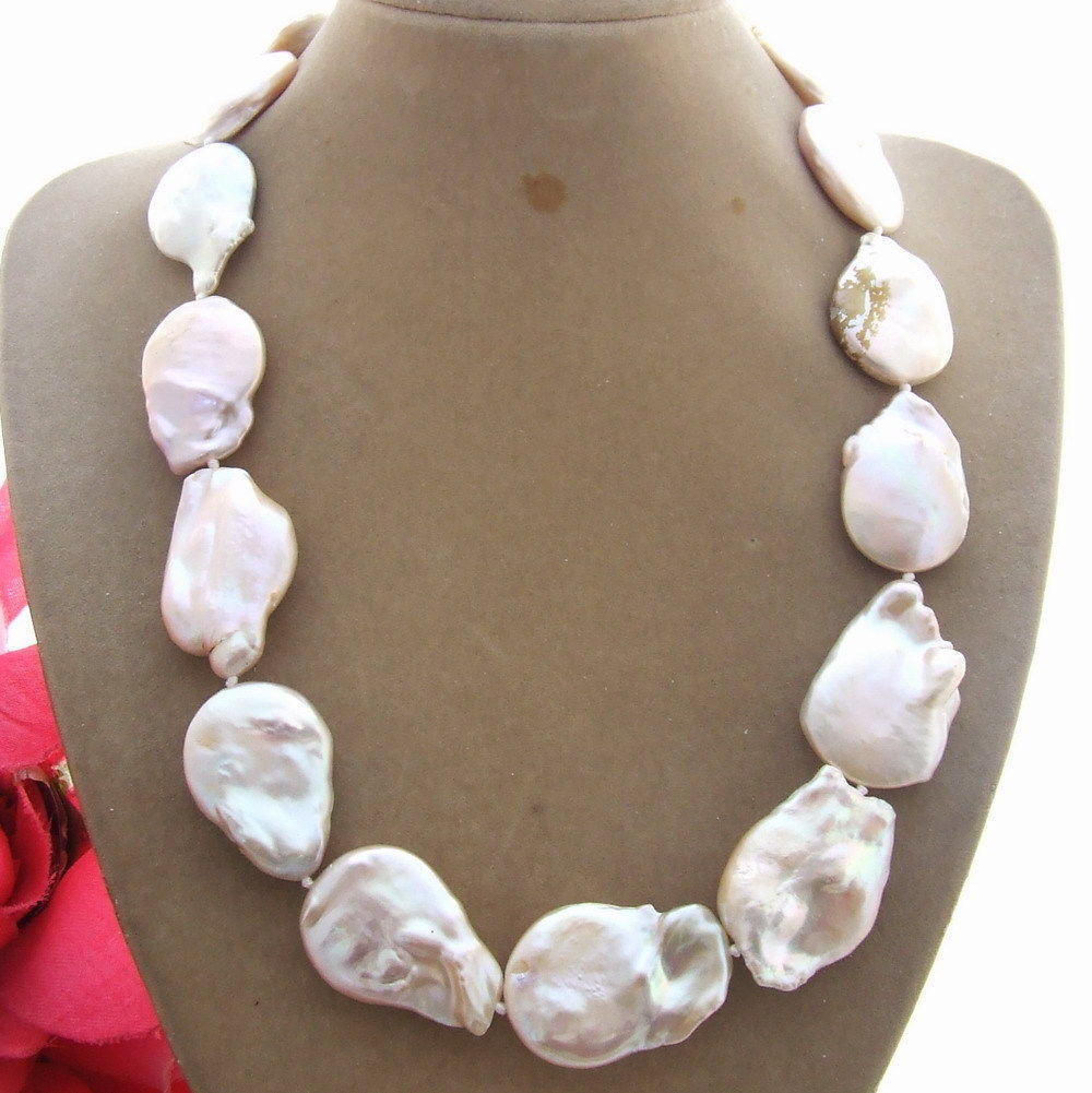 FREE SHIPPING hot sale~~~~~~ Natural 19MMx28MM Pink pear Keshi Pearl Necklace(China (Mainland))