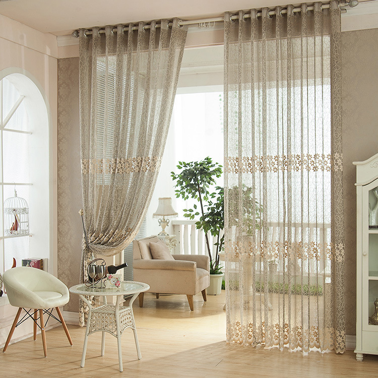 Gray jacquard curtain tulle screens the living room balcony study window decoration home sheer panel(China (Mainland))