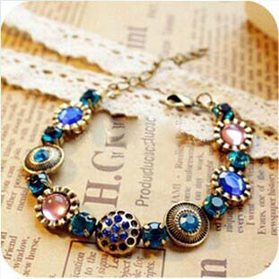 Free Shipping Vintage Zinc Alloy Crystal Colour Jewel Gold Chain Beads Silver Cross Bracelet for Men And Women Trendy Jewelry(China (Mainland))