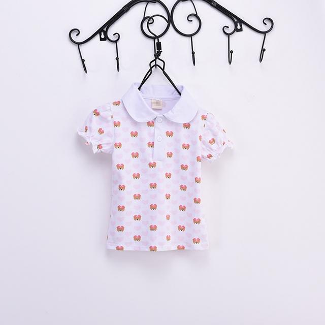 Лето 2016 новые дети девочки майка девушка свободного покроя с коротким рубашки девушка характер носят хлопка блузка топы