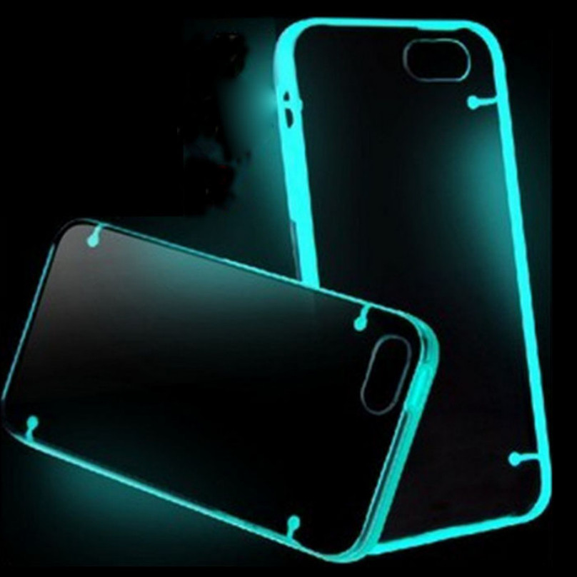 Candy Color TPU Rubber Clear Luminous Cover Case for iphone 7 6 6s plus 5S SE Ultra Thin Transparent Fluorescence Black Cover