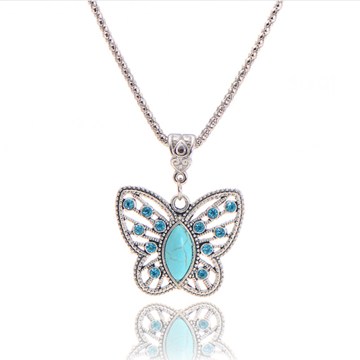 Jewelry Charming Crystal Tibetan Silver Turquoise Butterfly Pendant Necklace Christmas Gift for Women 2014 M13(China (Mainland))