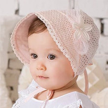 2016 Summer Baby Girl Cap Sweet Lovely Cute Princess Hat New Fashion Children Kids Pink White Lace Floral Caps gorras casquette(China (Mainland))