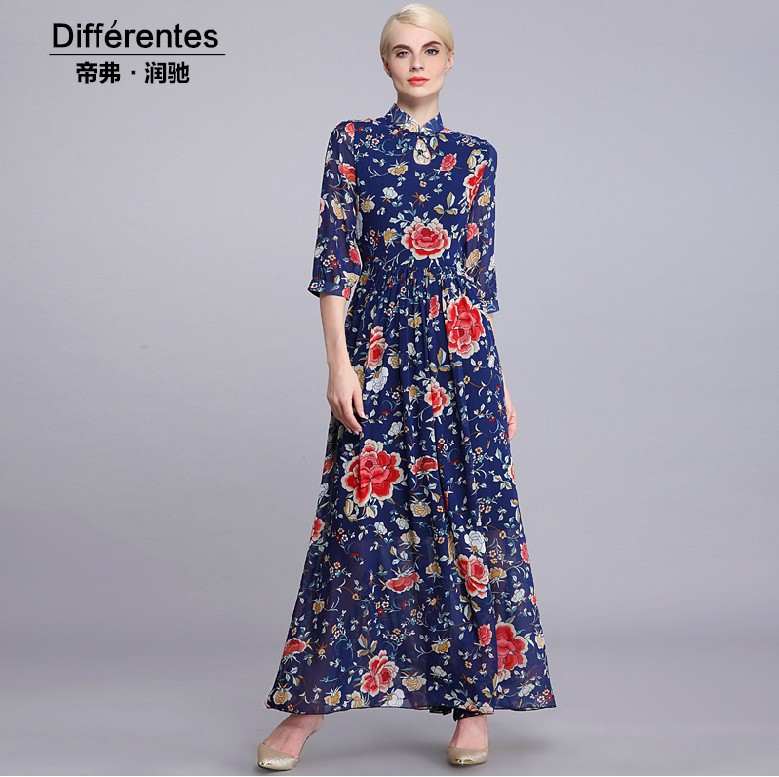 Three Quarter Sleeve Maxi Dress Three Quarter Sleeve Slim