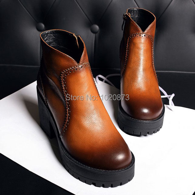 100%Genuine leather boots new 2014 fashion round toe high heels women ankle Martin motorcycle boots for women Winter shoes<br><br>Aliexpress