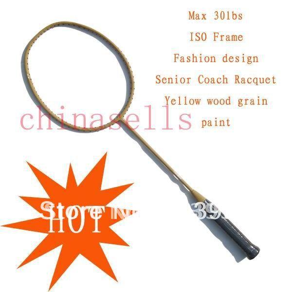 fashion design racquet Senior Coach Racquet Badminton Racket Racquet Full Carbon wood grain ,max30lbs,free 1 sweatband,1 line GB(China (Mainland))