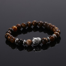 Buy Elastic Rope Natural Stone Bracelet Plated Silver Buddha Lava Buddha Head Beads Bracelets Tiger Eye Pulseras Hombre for $1.64 in AliExpress store