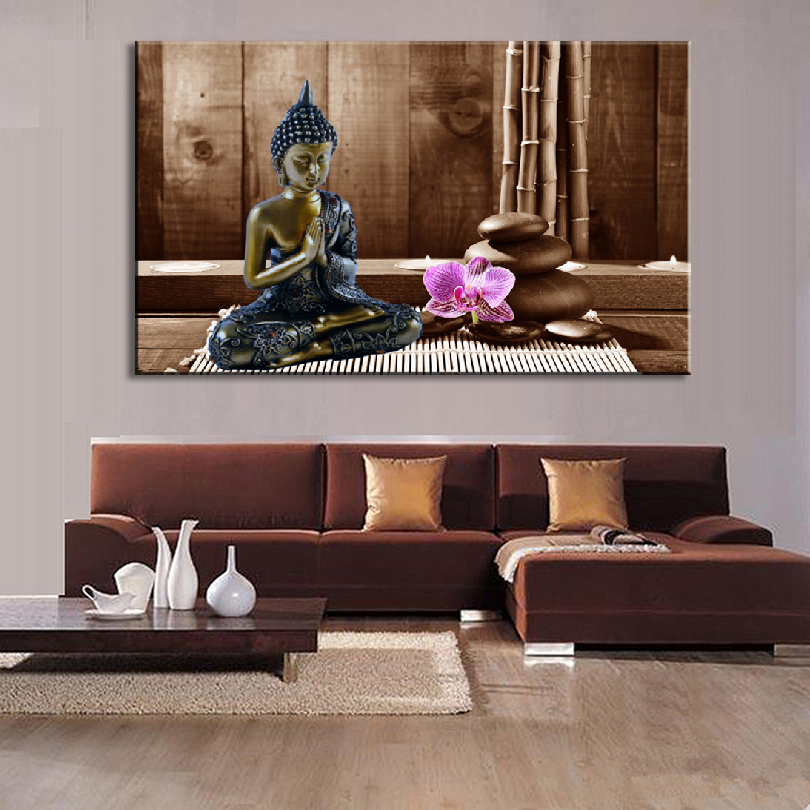 1 Pcs Buddha Wall Art Still Life Black Buddha With Stones and Flower Painting Prints on canvas Living Room Picture(China (Mainland))