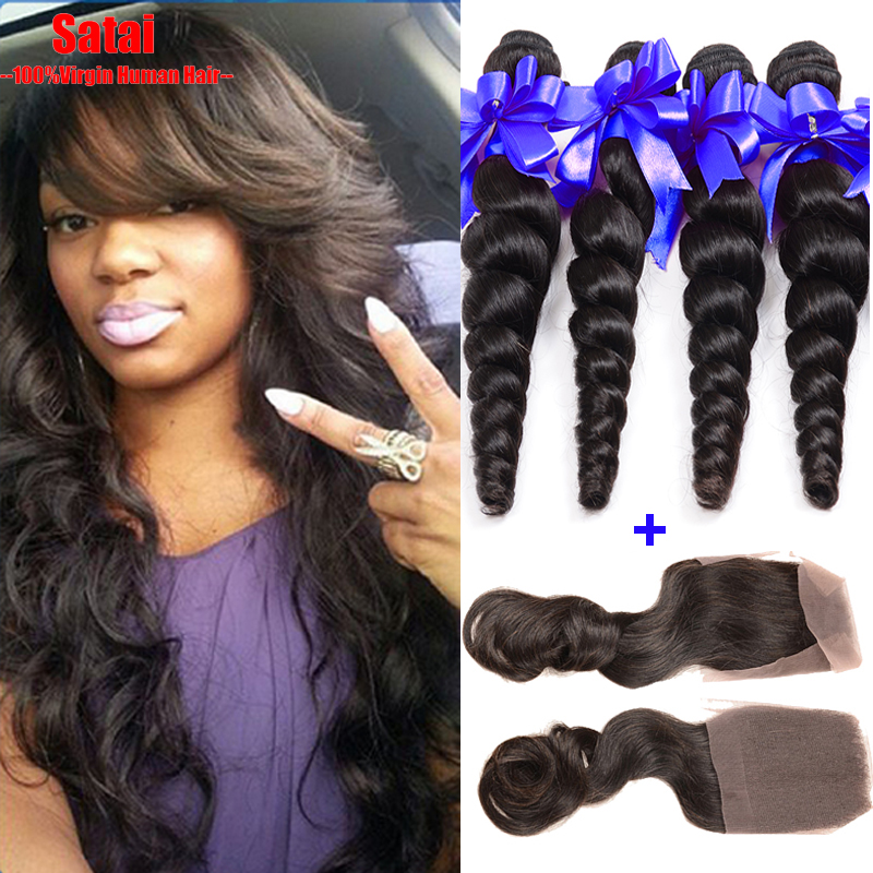 Brazilian virgin hair with closure loose wave 4bundles with 1pc lace closure cheap brazilian loose wave with closure human hair