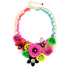 Women Charm Metal Flower Necklace Fashion Gold Chain Multicolor Beads Collar Chokers Maxi Necklaces & Pendant Statement Jewelry(China (Mainland))