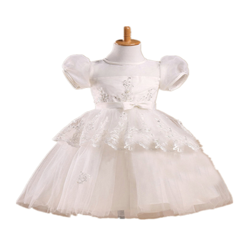 Baptism baby girl christening gowns lace white long, baby girl party dress for christening wedding party princess vestidos 7012(China (Mainland))