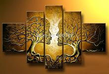 Hand Painted Abstract Oil Painting On Canvas Lover Trees Modern Art Home Decoration 3pcs/set Free Shipping(China (Mainland))