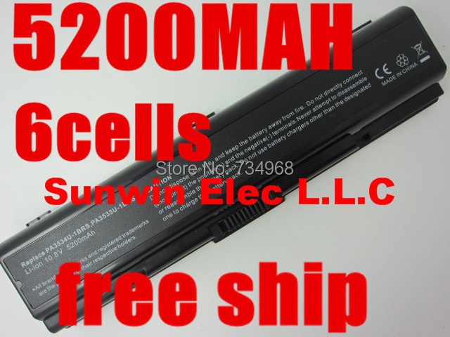 6CELL PA3534U-1BRS PA3533U-1BRS Laptop Battery 5200mAh For Toshiba Satellite A200 A205 A210 A215 A300 L300 M200 Series(China (Mainland))