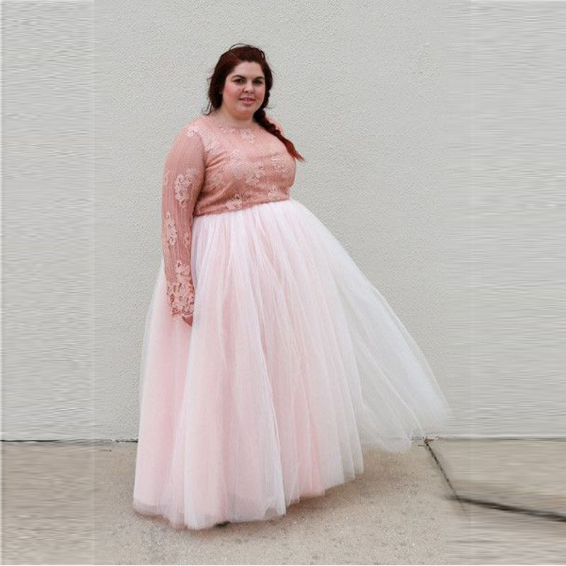 light pink plus size tulle skirt a line floor length