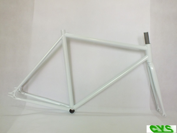 High performance 100% Cr-Mo 4130 Fixed Gear Bike Frame with Fork Copper Brazing Bicycle Parts Wholesale glossy black/white(China (Mainland))