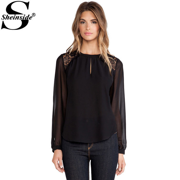 Sheinside Blusas Femininas 2015 Women Spring Plain Black Long Sleeve Round Neck Contrast Lace Backless Vintage Blouse(China (Mainland))