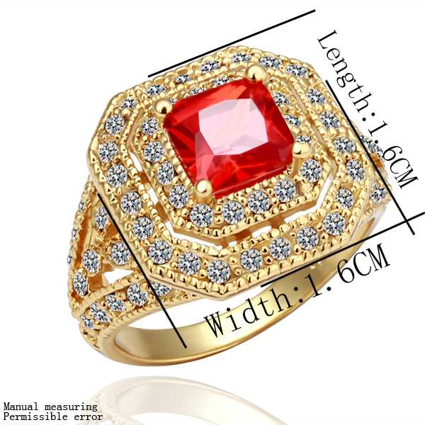 NEW!! 18k gold plated wedding ring red tw opal jewelry display SMTPR065(China (Mainland))