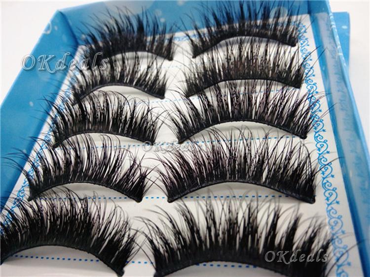 5 Pairs/Sset Natural Long False Eye Lashes Makeup Beauty Handmade Fashion Thick Fake False Eyelashes Cosmetic(China (Mainland))