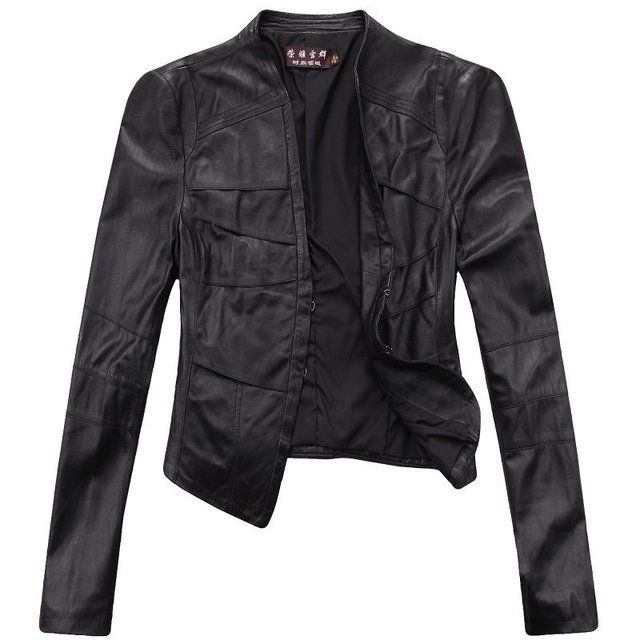 Free shipping! Womes Genuine Leather Jacket / Coat Motobike Leather Jacket  Balck M~2XL 1373