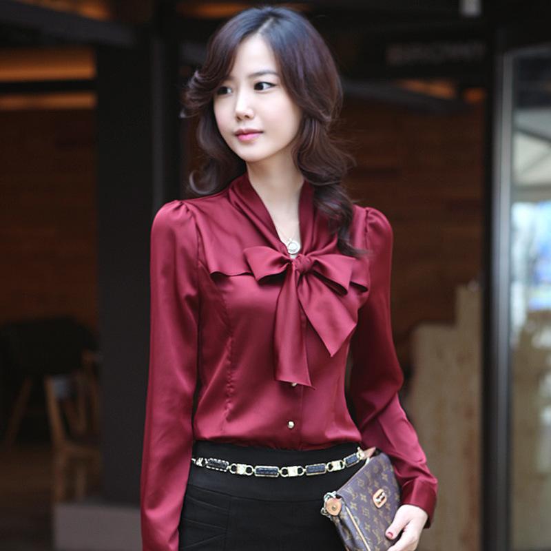 2015 Autumn New Korean Chiffon Shirt Female Slim Bottoming Shirt Bow Tie V-neck Shirt Women's Blouses Wholesale(China (Mainland))