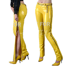 Latex Trousers Pants For Women Fetish Capris Long Zipper Show your Sexy Plus Size Customizable 100% Natural Handmade(China (Mainland))