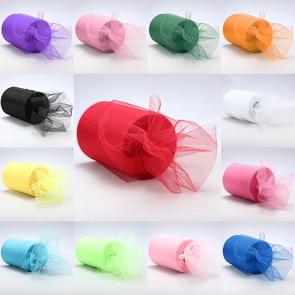 Romantic Design Wedding Decorations Gift Tulle Roll Spool 6inchx100yd Craft Party Tutu Bow Craft Vivid Tulle Roll Spool DIY Gift(China (Mainland))